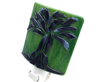 Night Light, Green & Purple Stained Glass, Contemporary Tree Design, Large