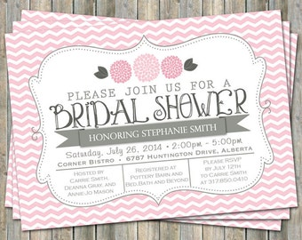 Pink Chevron Bridal Shower invitation with flowers, pink and gray,  printable, digital file