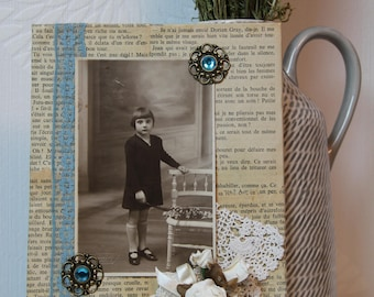 Picture frame old /Vintage technical mix of original collage/artwork, Mixed media collage