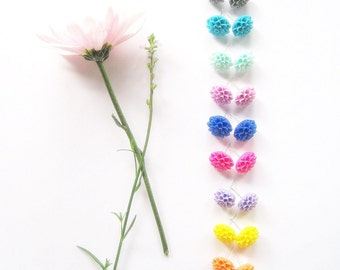 Flower Earrings, Little Flower Earrings, Bridesmaid Earrings, Bridal Jewelry, Flower Studs, Mum Earrings,Clip on Earrings,Trendy Earrings