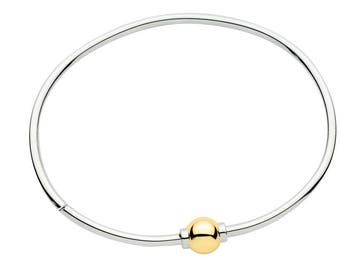 Made on Cape Cod. Bracelet with w/ 14k Gold Screw Ball, & sterling silver bangle. Best quality, guaranteed.