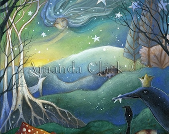 An art print for a fairy tale xmas . 'Yule'. by Amanda Clark. Yule gifts, Illustration for a Christmas story.
