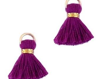 Beaded tassels, tassels, tassel pendant-1.5 cm-3 pcs.-Color selectable (color: purple)