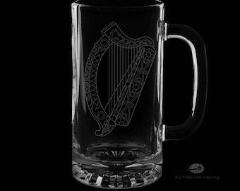16 Ounce Irish Harp Personalized Beer Mug