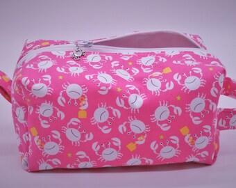 Crab Bag, Crab Travel Bag, Beach Ditty Bag, Cosmetics Pouch, Dopp Kit, Toiletry Bag, Jumbo Pencil Case, Wet Sack, Coastal Gifts
