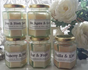 English Pear & Freesia scented candle, handmade by Klairs Kandles, using natural soy wax, great for gifts, vegan friendly