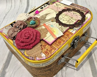 MINI ALBUM in SUITCASE 2-ring Binder All Occasion Scrapbook Scrapbooking Chipboard