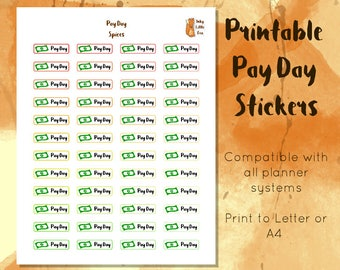 Printable Pay Day Stickers // Money Management Stickers // Budgeting Stickers // Payment Tracker Stickers // Track Payments