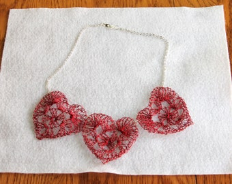 Crocheted Red Wire Heart Necklace