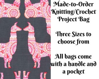 Llama Rama in Berry, Knitting Project Bag, Large Project Bag, Drawstring, Zippered, Sock Sack, Yarn Tote, Sock Project