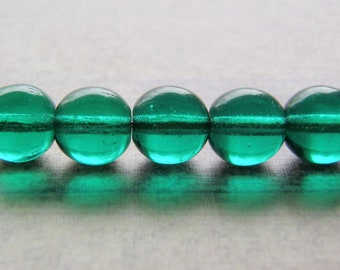 Teal Green Beads Smooth Round Druk 20 Beads