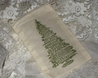 Vintage Christmas Tree Drawstring Muslin Gift Bag Pouch Set of 6