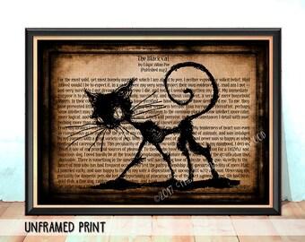 Halloween Print - Edgar Allan Poe Black Cat Print - English Teacher Gift - Student Teacher Gift - Classroom Decor - Literary Art