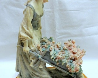 Armani Figurine; Girl with Wheelbarrow filled with Flowers