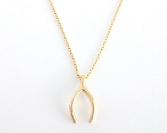 Dainty Necklace, Gold Wishbone Charm, Delicate Fine Chain, Everyday Necklace