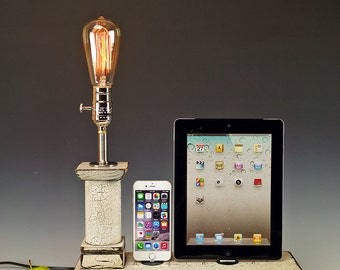 Country Chic Docking stations and chargers. Dual Dock with lamp and wall chargers for iPhone, iPod, iPad or Mini. Cottage Rustic. 725.