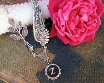 Typewriter Jewelry Letter Z , Initial Necklace Z, Typewriter Charm Jewelry, Wing Necklace