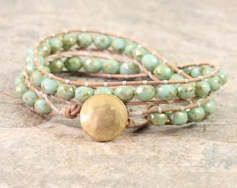 Mint Green Wrap Bracelet Natural Leather Jewelry Golden Wrap Bracelet Cream Boho Wrap Bracelet Gold Bohemian Jewelry Pistachio Boho Jewelry