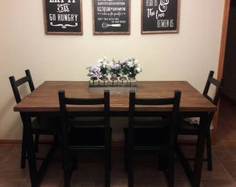 Rustic Custom Made Table | Farmhouse Style Kitchen Table | Metal Frame with Wood Top