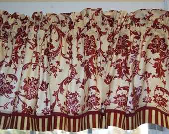 """Old World Style Maywood Red Cream Scroll Toile Valance 17"""" x 64"""" Curtain Alter Window Treatment"""