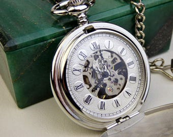Elegant Pocket Watch in Silver White & Black, Pocket Watch Chain, Groomsmen Gift, Engravable Pocket Watch, Personalized Gift - Item MPW372