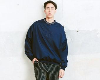 Vintage Men Golf Sweater . Men's 90s Sweatshirt Sports Sweater Blue Sweater Athelisure Activewear Windbreaker Sweater. size XXL