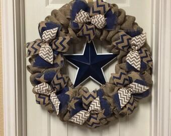 Dallas Cowboys Wreath - Navy White And Silver Star Burlap Wreath - Football Wreath