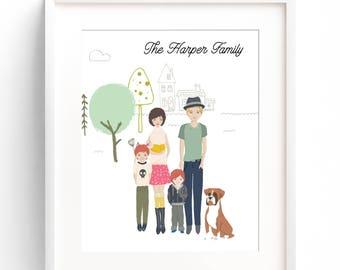Custom Family Portrait Illustration, Couples Portrait, Unique Family Name Decor, Personalized Family Portrait, Mothers Day, Family Sign