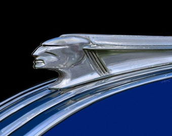 1947 Pontiac Hood Ornament...gallery wrapped stretched canvas or luster photo paper print, car art, 47,classic car, automobile