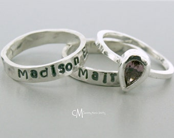 Stackable Name Rings - Silver Stacking Rings - Handmade Ring - Mothers Ring set - Stackable Birthstone Ring - Pear Shape ring - Push Present