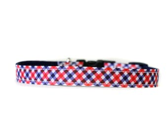 5/8 or 3/4 Inch Wide Dog Collar with Adjustable Buckle or Martingale in Red and Navy Plaid