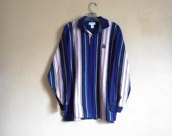 Vintage Izod 80's Longsleeve Polo Collared Vintage Vertical Stripe Shirt Medium Cotton
