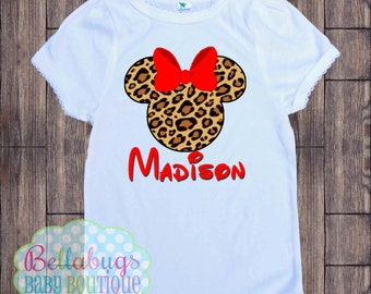 Cheetah Minnie Disney Bodysuit or Tshirt - Animal Kingdom - Personalized shirt