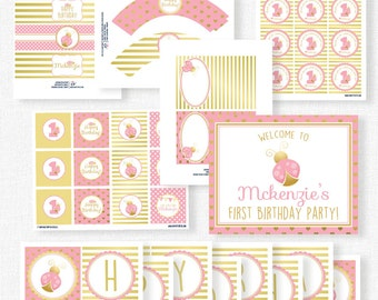 Ladybug Birthday Party Printables, Pink Ladybug Party Decorations, Pink and Gold Party, Little Lady Birthday