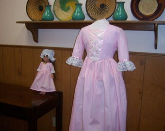 "Girls 7/8 Colonial Dress + Cap and 18"" Doll Dress + Mob Cap--Fits American Girl Dolls, Williamsburg, Christmas, Gift, Pink Dress, Birthday"