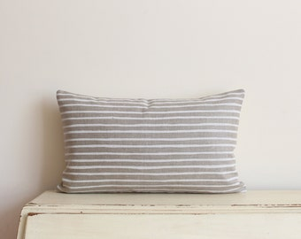 """Hand painted stripe linen pillow / cushion cover 12"""" x 20"""" in white and tan"""