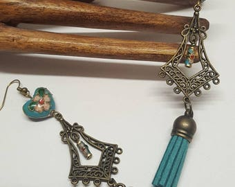 Earrings dark turquoise tassels 3.8cms prints