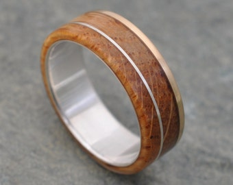 Kentucky Bourbon Barrel Gold and Silver Un Lado Asi Wood Ring - wood wedding ring with recycled 14k yellow gold edge, whiskey barrel ring