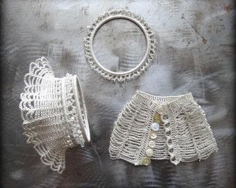 Crocheted Lace Bracelet, Small, Handmade, Glass Beads, Original, Sparkle, Ruffled, Unique, One of Kind, Monicaj
