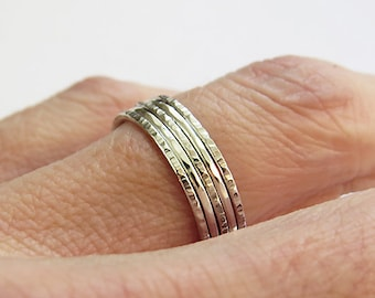 Set of 5 Super Thin Stacking Rings, Hammered Rings, Two Types Of Hammered Texture, 925 Sterling Silver Rings, Dainty Rings, Simple Rings
