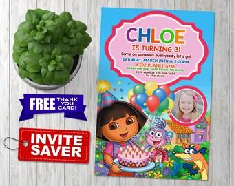 Dora invitations etsy dora the explorer invitation dora the explorer birthday invitation dora the explorer birthday filmwisefo Images