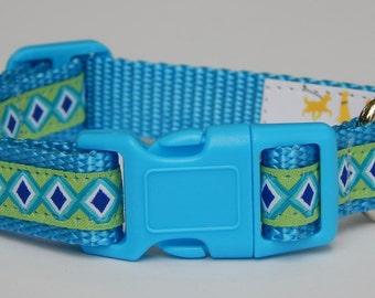 Blue and green diamond dog collar, Blue Dog Collar, Adjustable Dog Collar, Adjustable Dog Collar