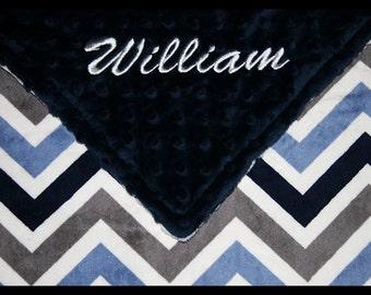 Chevron Blanket~Baby Boy Blanket~Personalized Boy's Blanket~Nursery~Crib Bedding~Lovey~Shower Gift~