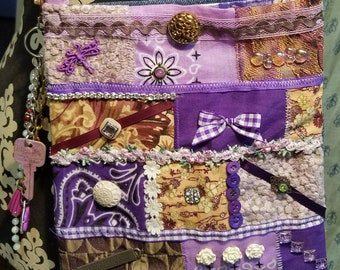 Multi-Purple  Colored Crazy Quilted Gypsy Boho Crossover  Bag-Sold