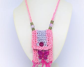 Pink and gray crocheted in cotton sateen pouch / / mini pouch / / necklace / / kids fashion accessory / / made in France