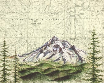 Mt Hood Wilderness, Mount Hood painting print Mountain illustration, Oregon mountain print, Portland wilderness mountain art topo map art