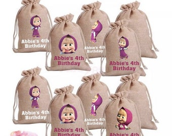 Masha and The Bear Burlap Goodie Bags | Party Favors | Masha and The Bear Party | Masha and The Bear Birthday