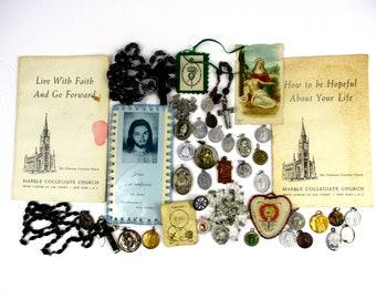 Vintage Religious Lot of 38, Vintage to Antique Religious Lot, Scapulars,Medals, Relic Medal, Rosaries,Ephemera,Crucifix,Chaplet,Pendant,etc