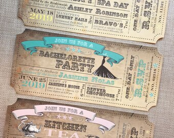 Vintage Carnival Ticket Bridal Shower or Bachelorette Party Invitation... Sample