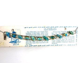Vintage Turquoise Bracelet 1960's Souvenir Turquoise Bracelet Silver Tone Metal Southwest Jewelry Genuine Turquoise Indian Handcraft